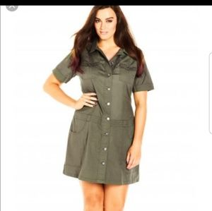 City Chic Button Down Shirt Dress Sz Small (Plus)